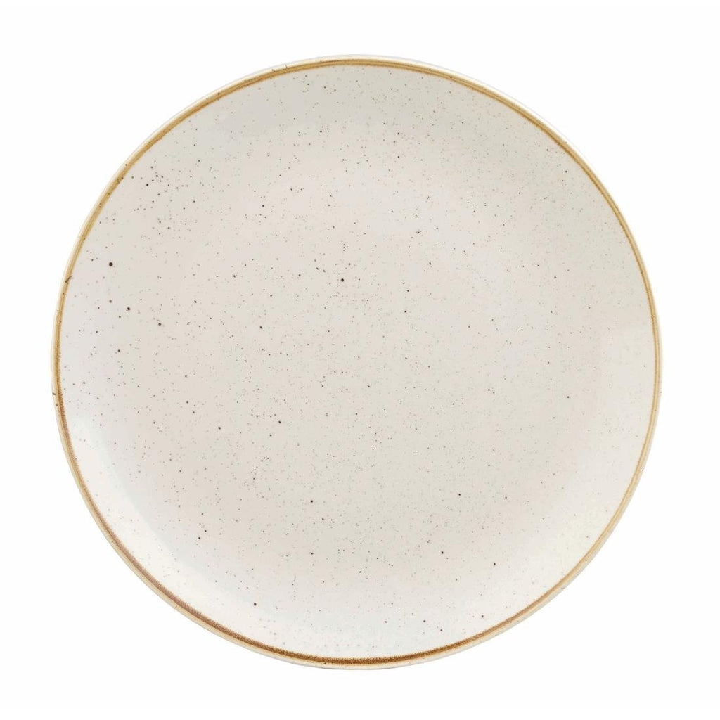 12PCE Churchill Stonecast Round Coupe Plate Barley White 200mm