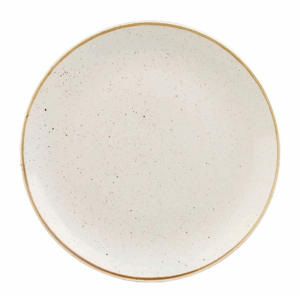 12PCE Churchill Stonecast Round Coupe Plate Barley White 185mm