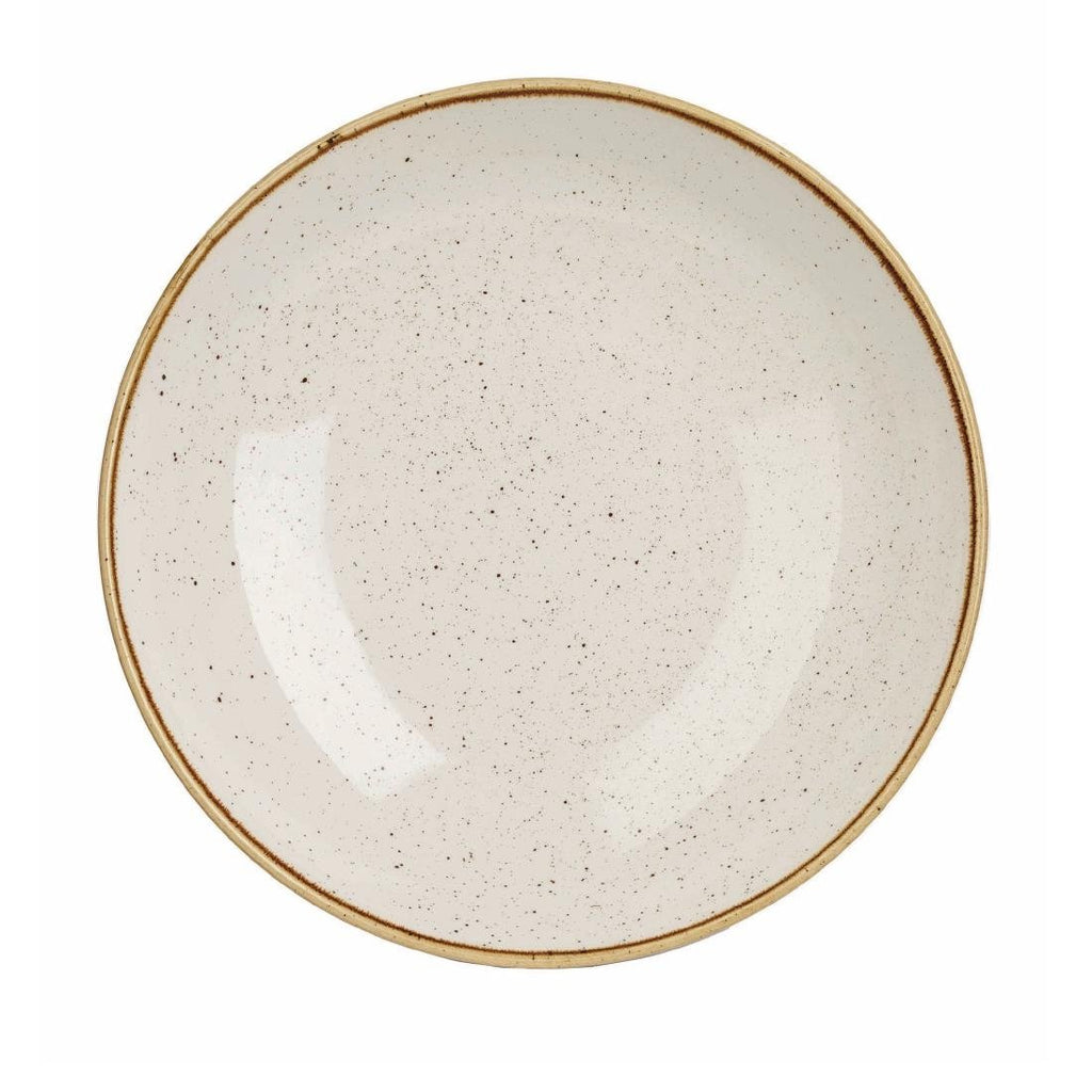 6PCE Churchill Stonecast Round Coupe Bowl Barley White 315mm