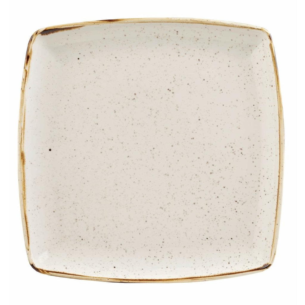 6PCE Churchill Stonecast Deep Square Plate Barley White 260mm