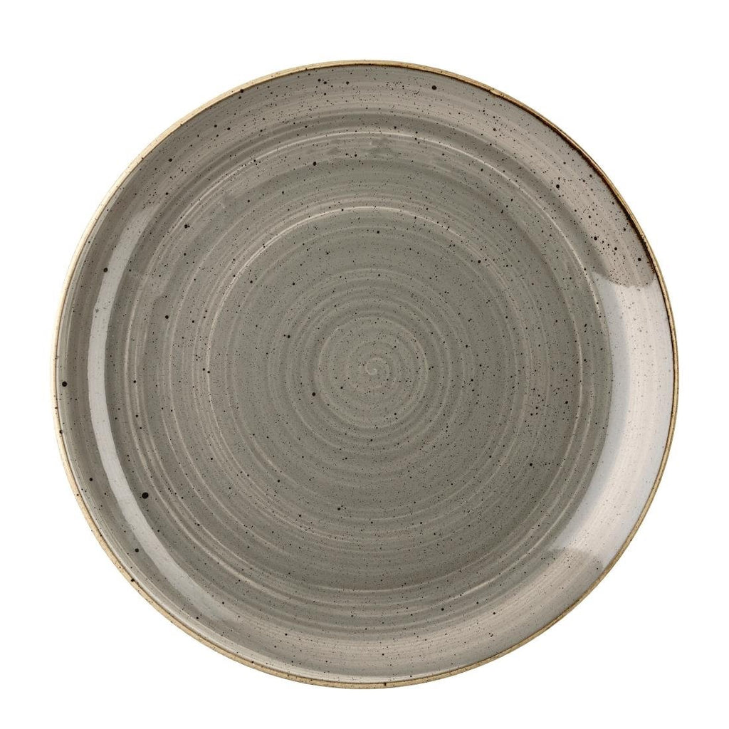 12PCE Churchill Stonecast Round Coupe Plate Peppercorn Grey 217mm