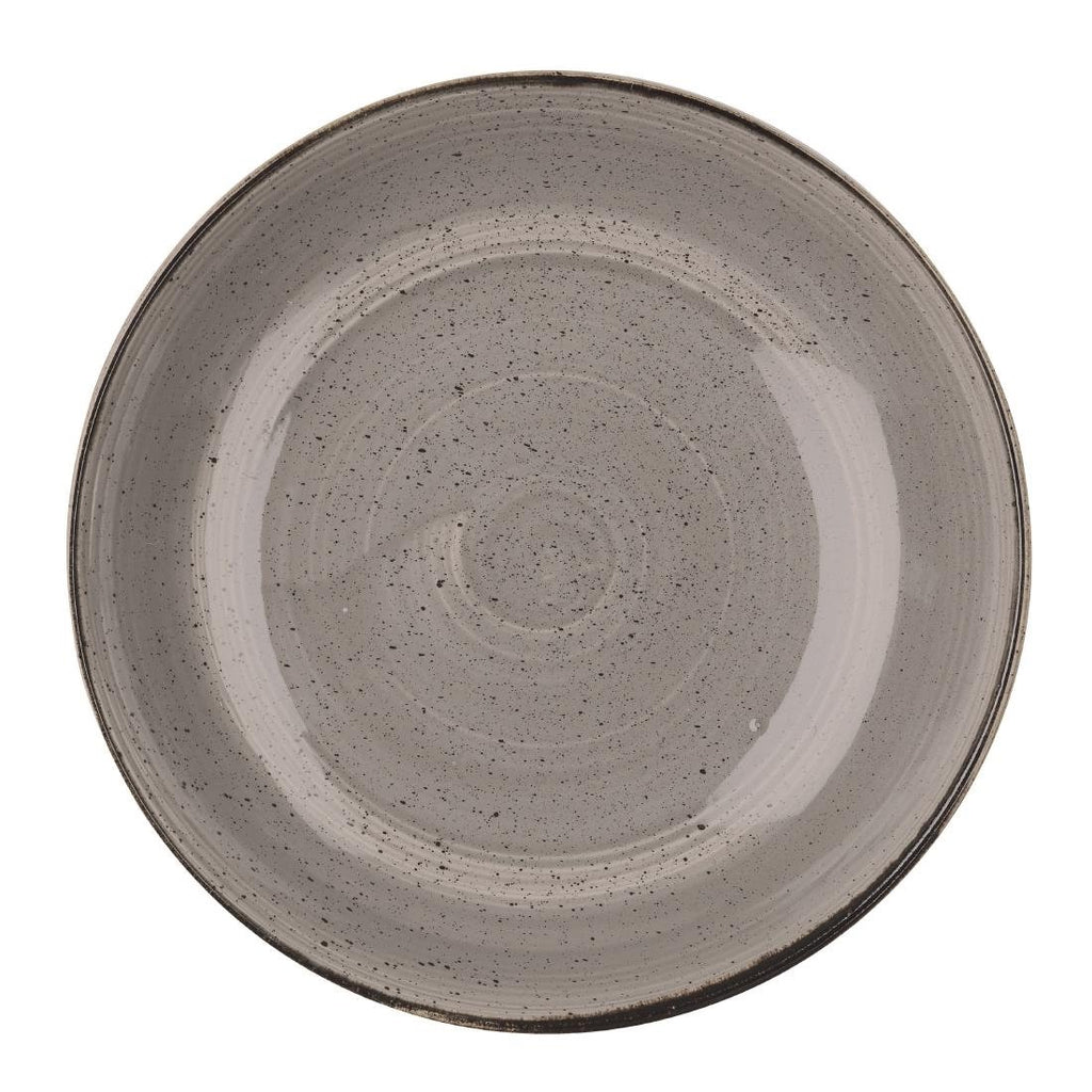 6PCE Churchill Stonecast Round Coupe Bowl Peppercorn Grey 315mm