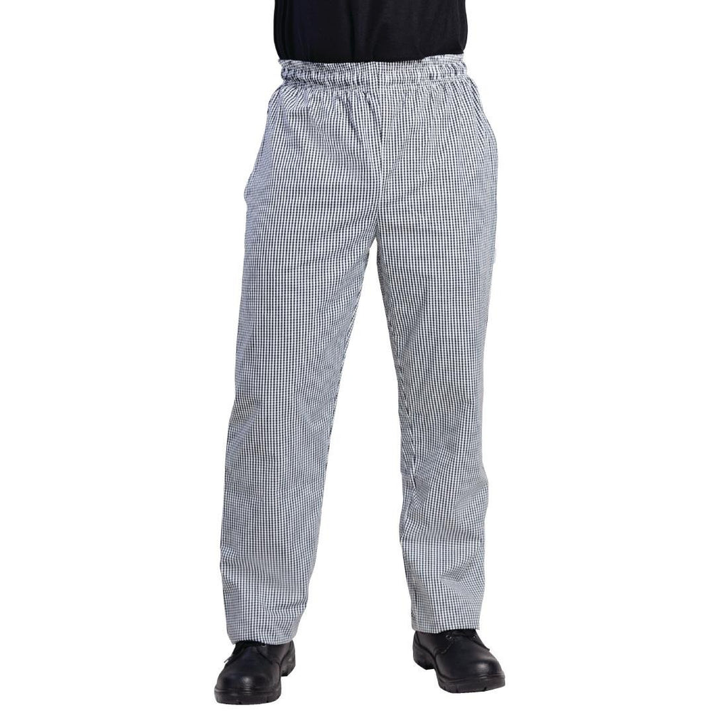 Whites Vegas Chefs Pants Small Black and White Check S - ICE Group