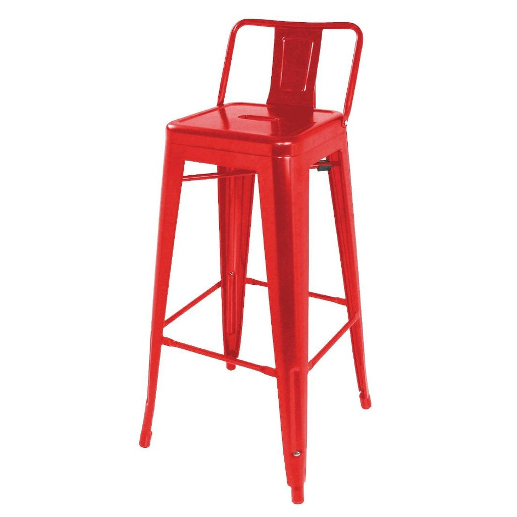 4PCE Bolero Steel Bistro High Stools with Back Rests Red