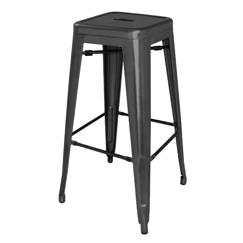 4PCE Bolero Steel Bistro High Stools Black