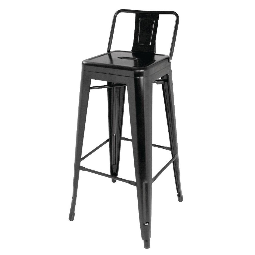 4PCE Bolero Steel Bistro High Stools with Back Rests Black