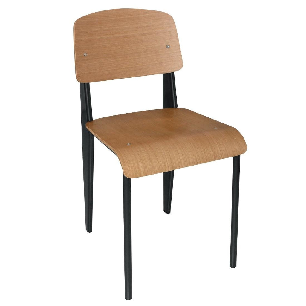 4PCE Bolero Wooden Dining Chairs with Black Steel Frame