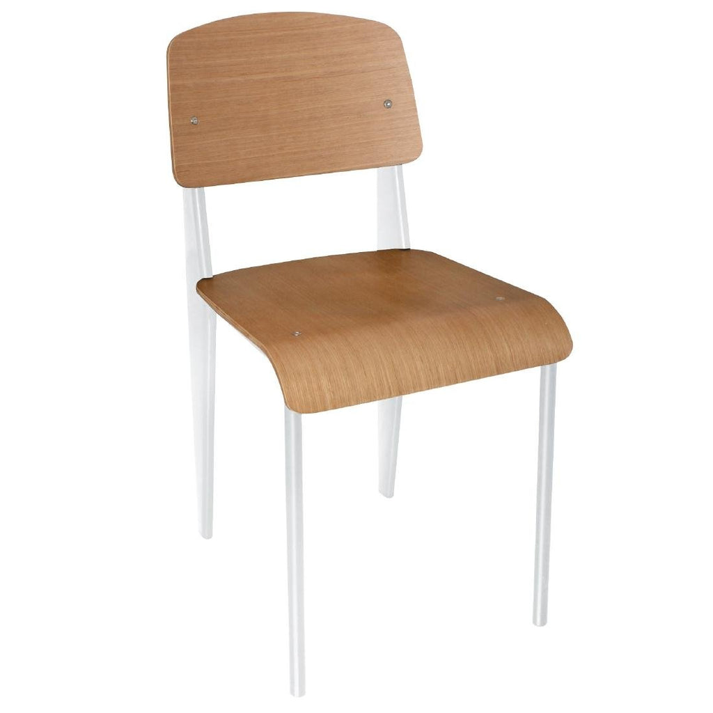 4PCE Bolero Wooden Dining Chairs with White Steel Frame
