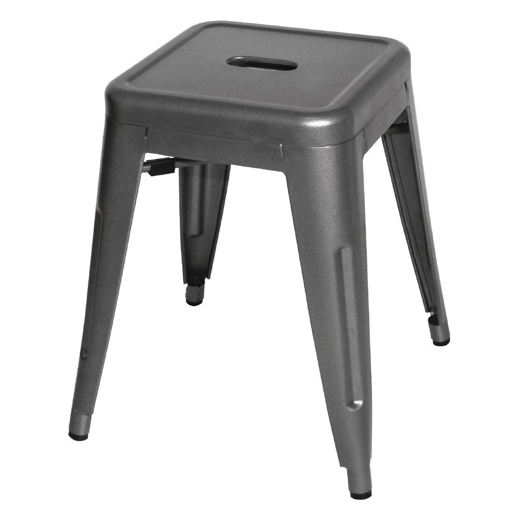 4PCE Bolero Bistro Low Stools Gun Metal Grey