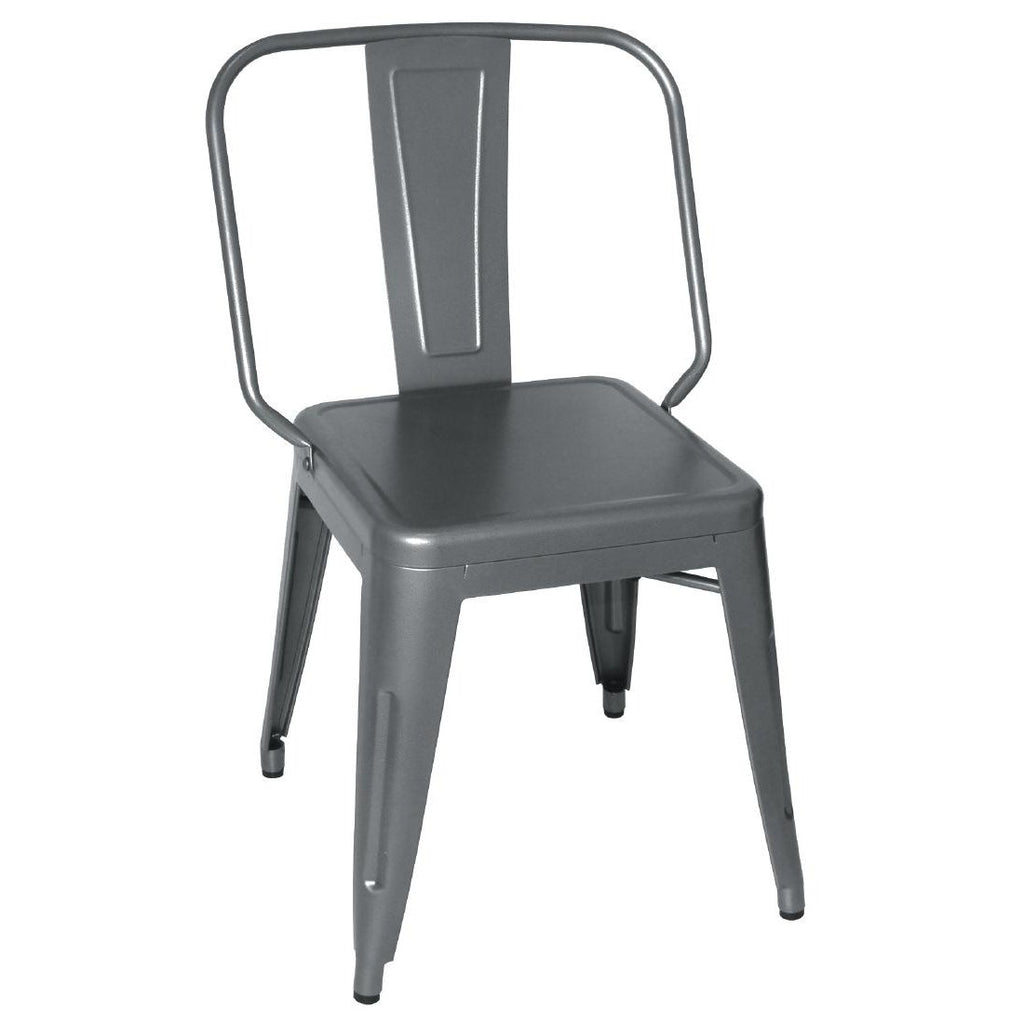 4PCE Bolero Steel Bistro Side Chairs Gun Metal Grey