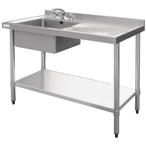 Vogue Stainless Steel Single Bowl Sink Right Hand Drainer 1000mm