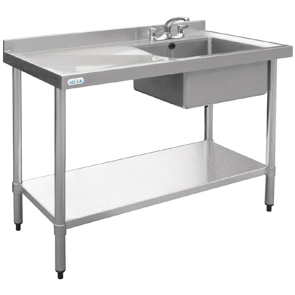 Vogue 1000mm Single Bowl Sink L/H Drainer 90mm Drain