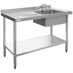 Vogue Single Bowl Sink L/H Drainer 1200mm x 600mm 90mm Drain