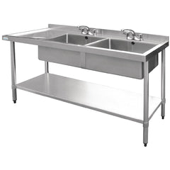 Vogue 1500mm Double Bowl Sink L/H Drainer 90mm Drain