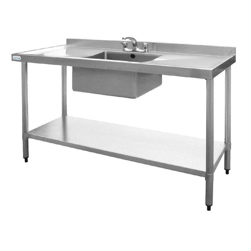 Vogue Single Bowl Sink Double Drainer 1500mm x 600mm 90mm Drain