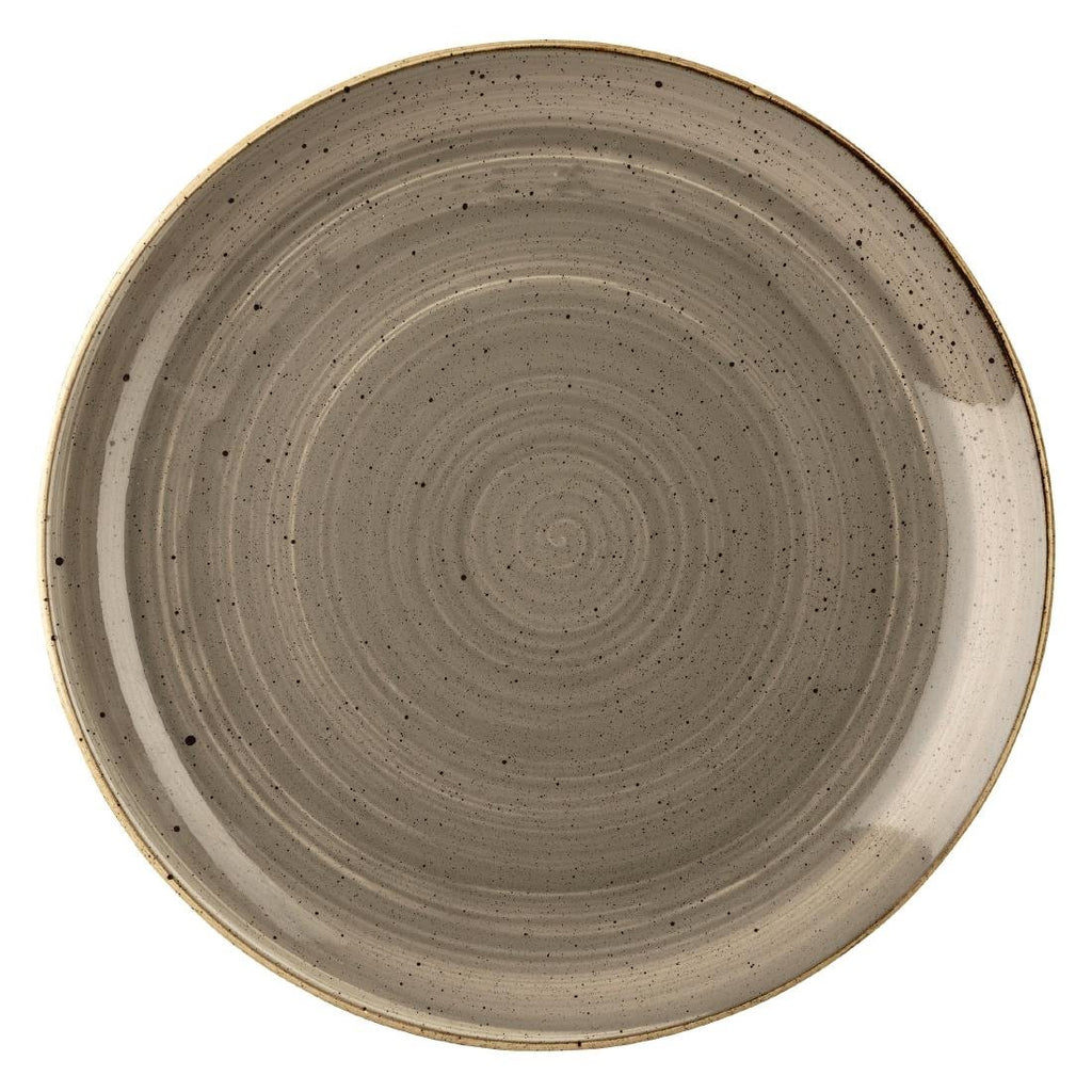 6PCE Churchill Stonecast Peppercorn Grey Round Coupe Plate 324mm