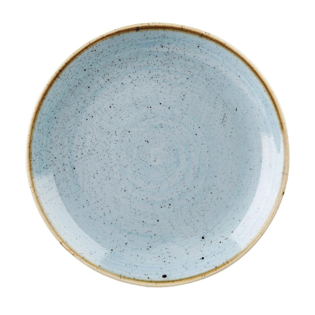 4PCE Churchill Stonecast Duck Egg Blue Round Coupe Plate 324mm