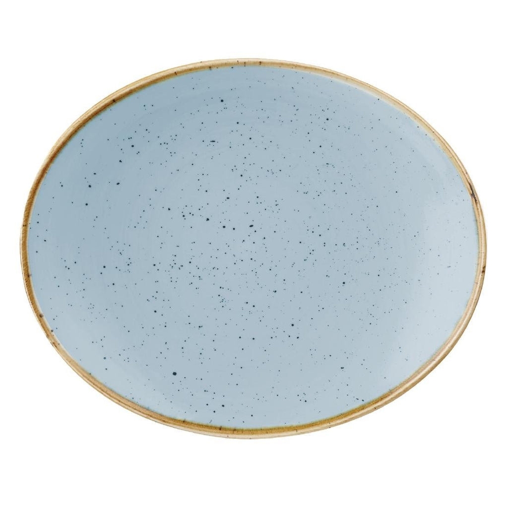 12PCE Churchill Stonecast Duck Egg Blue Oval Coupe Plate 192 x 160mm
