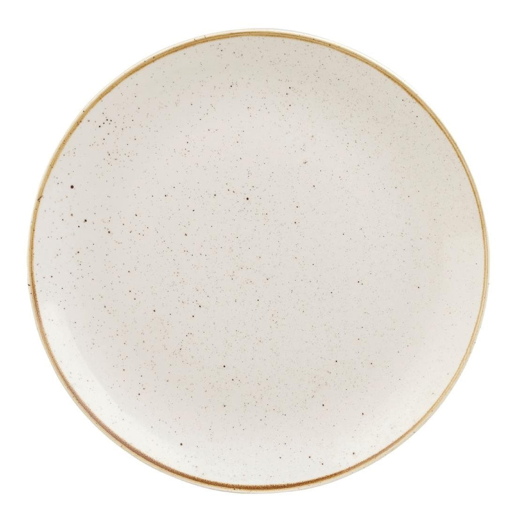 6PCE Churchill Stonecast Barley White Round Coupe Plate 324mm