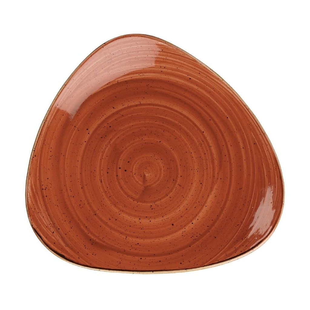 12PCE Churchill 192mm Stonecast Spiced Orange Triangular Plate