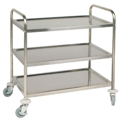 Vogue Stainless Steel 3 Tier Clearing Trolley Medium - icegroup hospitality superstore