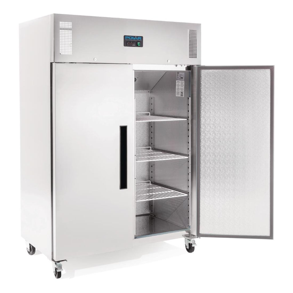 Polar 1200L 2 Door Upright Freezer Stainless Steel