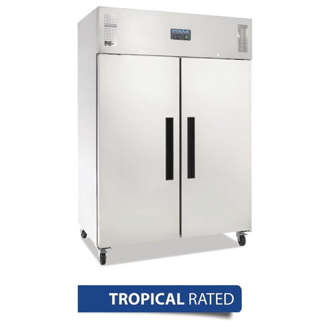 Polar 2 Door Upright Fridge 1200Ltr Stainless Steel