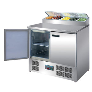 Polar 2 Door Salad and Pizza Prep Counter Stainless Steel - icegroup hospitality superstore
