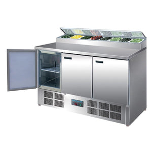 Polar 3 Door Salad and Pizza Prep Counter Stainless Steel - icegroup hospitality superstore