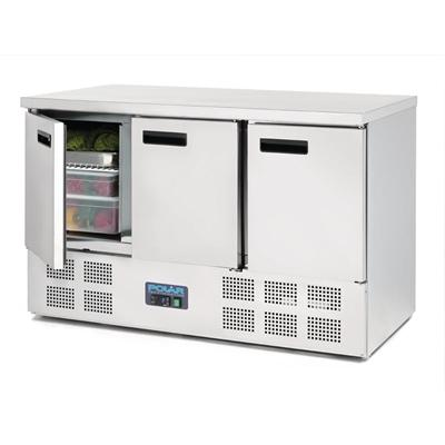 Polar 3 Door Counter Fridge 368L Stainless Steel