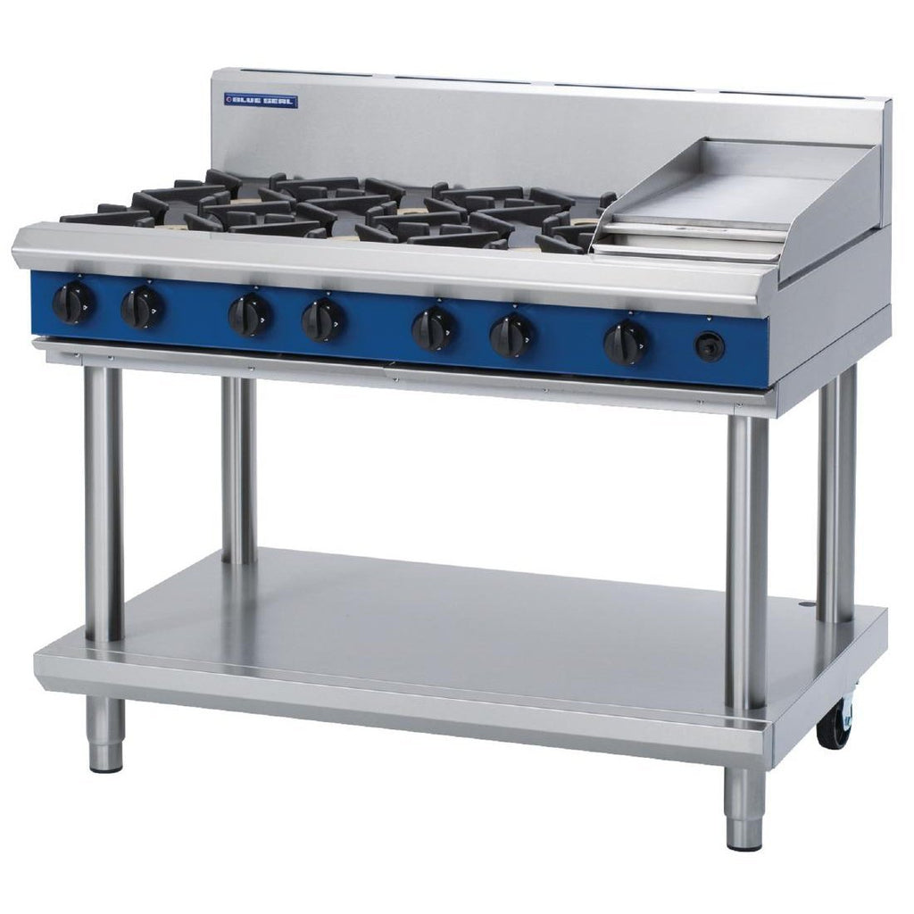 Blue Seal by Moffat Freestanding 6 Burner Propane Gas Cooktop with Griddle Plate