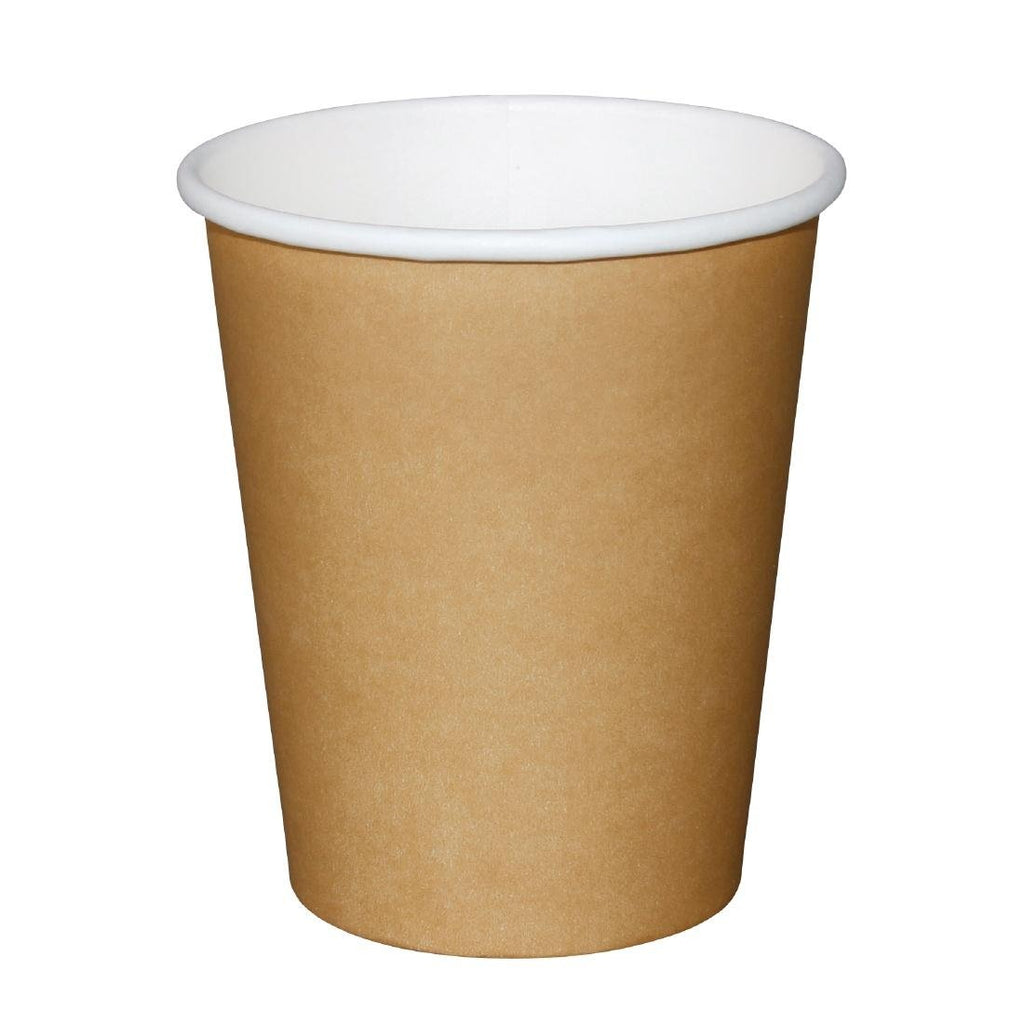 1000PCE Fiesta Disposable Brown Hot Cups 225ml
