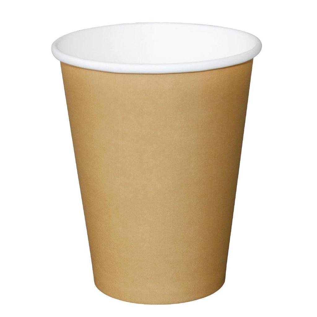 50PCE Fiesta Disposable Brown Hot Cups 340ml