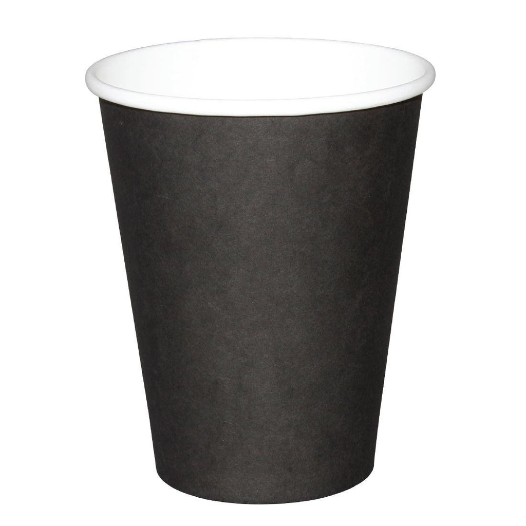 50PCE Fiesta Disposable Black Hot Cups 225ml