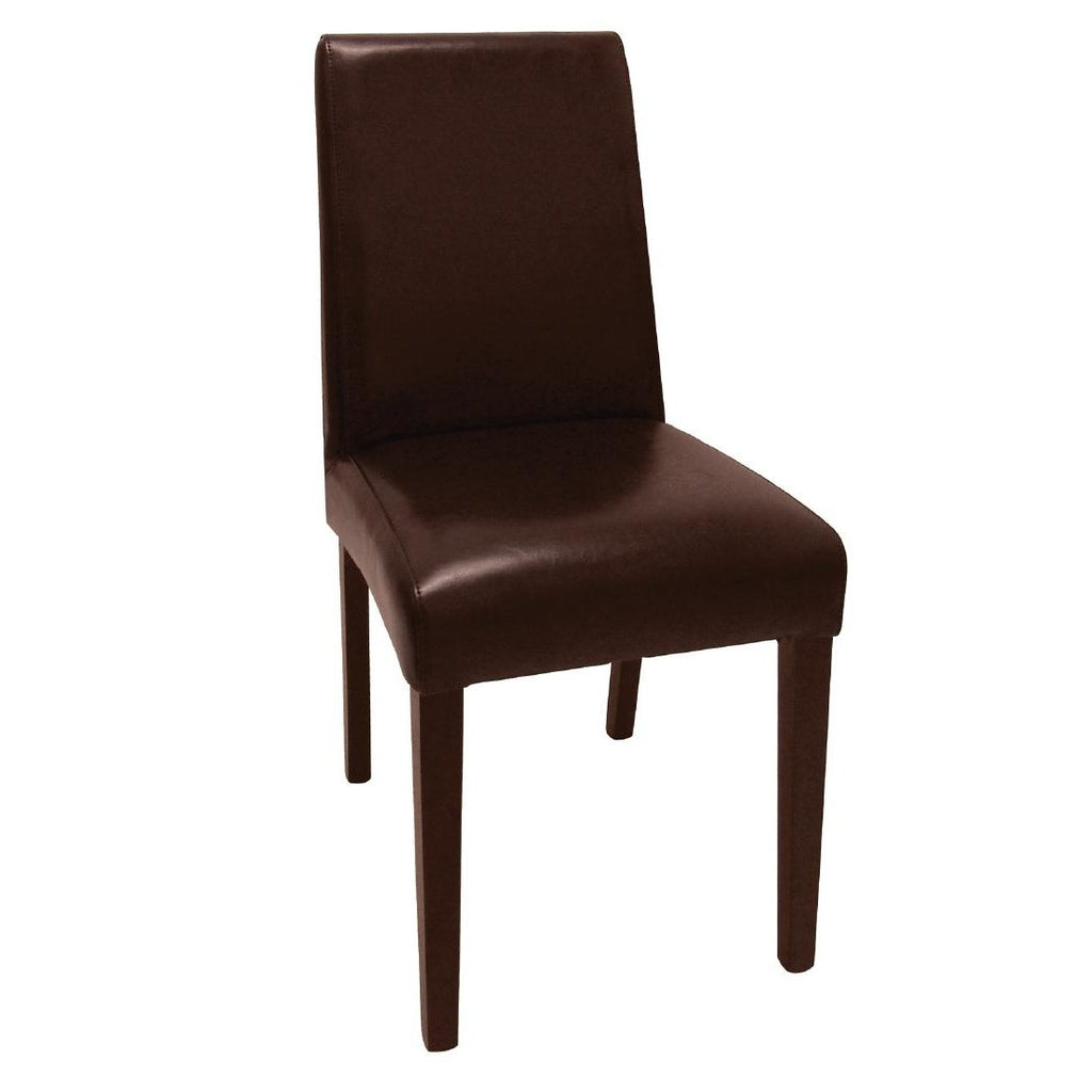 2PCE Bolero Faux Leather Dining Chairs Brown