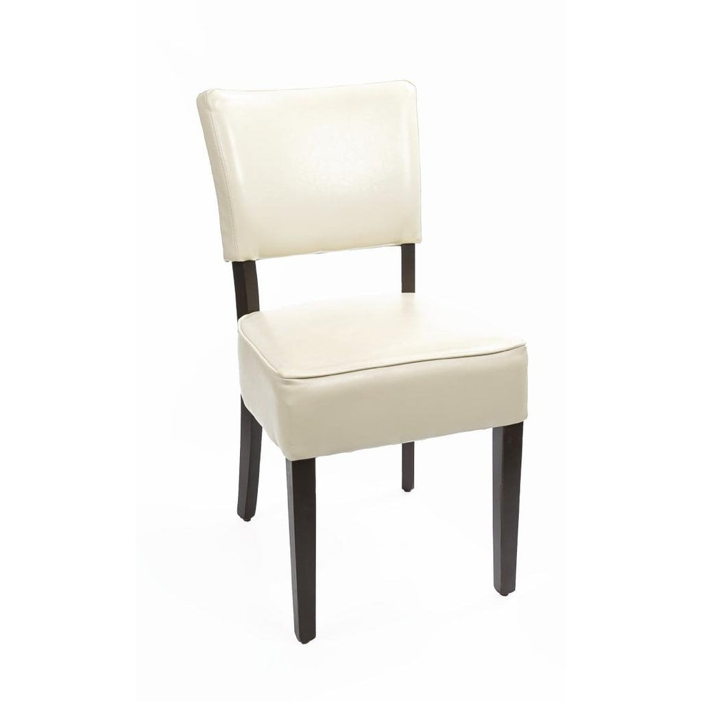 2PCE Bolero Chunky Faux Leather Chairs Cream