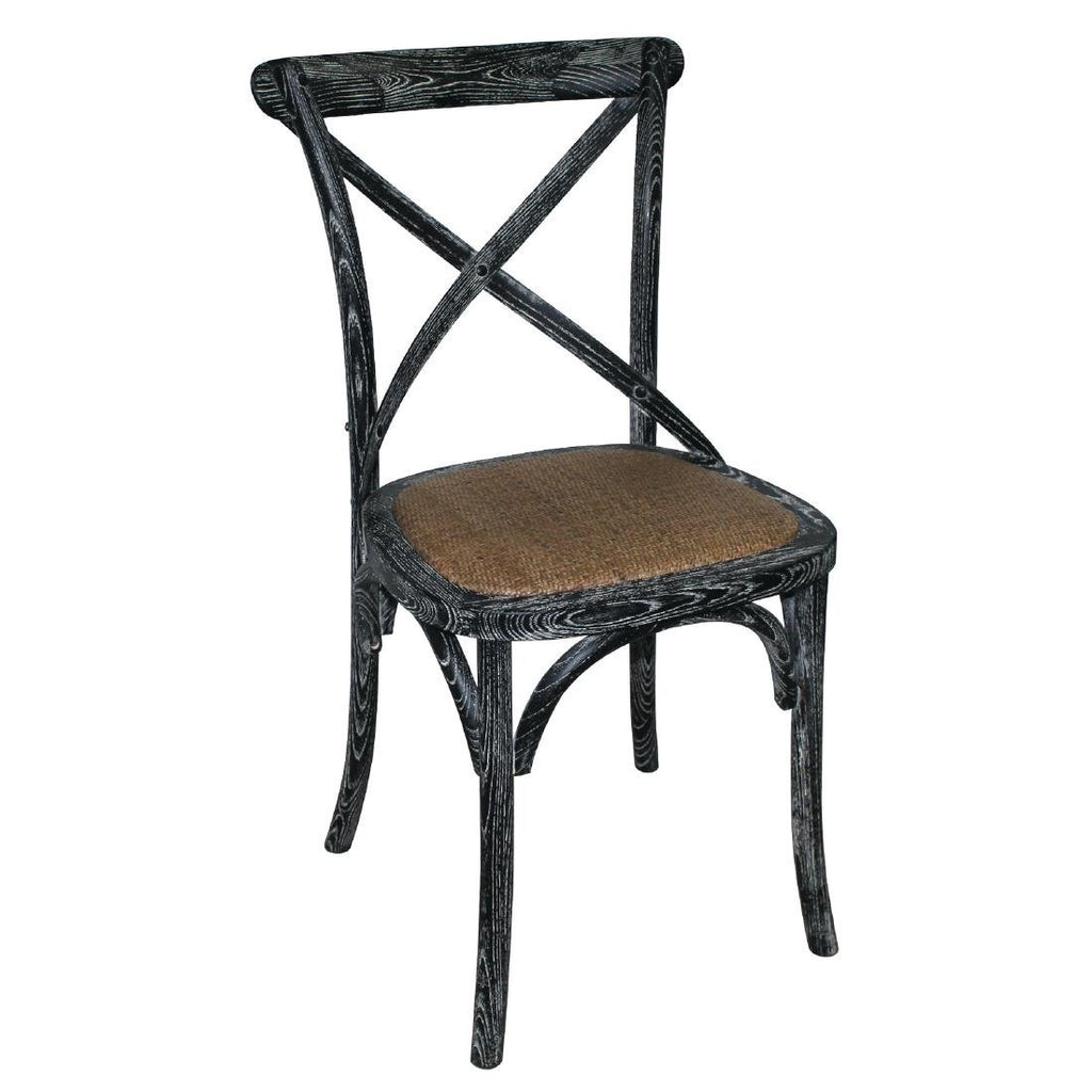 2PCE Bolero Black Wooden Dining Chairs with Backrest