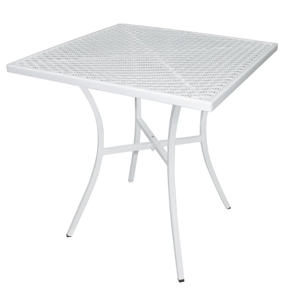 Bolero White Steel Patterned Square Bistro Table White 700mm - ICE Group