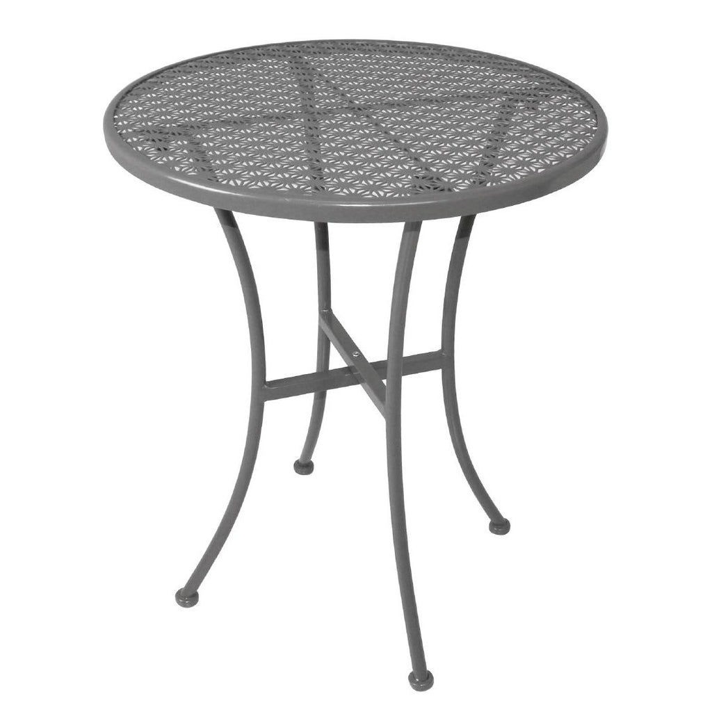 Bolero Grey Steel Patterned Round Bistro Table Grey 600mm