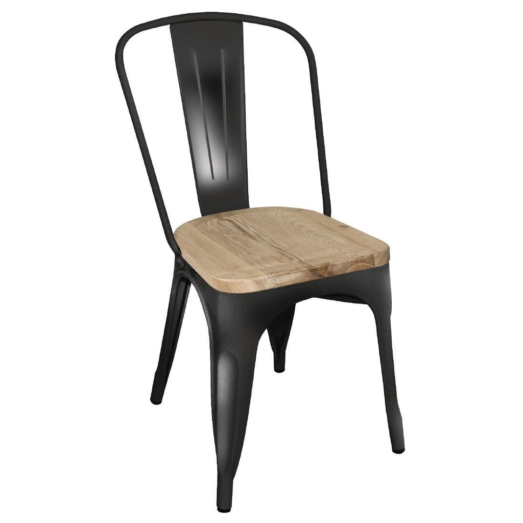 4PCE Bolero Steel Dining Side Chairs with Wooden Seat pads Black