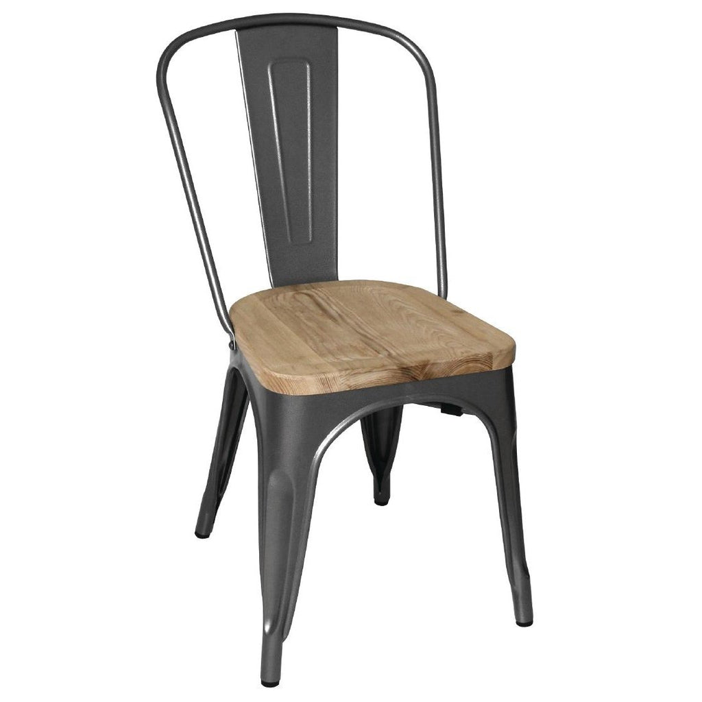 4PCE Bolero Steel Dining Side Chairs with Wooden Seat pads Grey