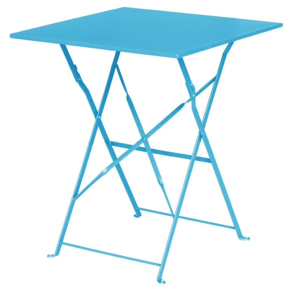 Bolero Seaside Blue Pavement Style Steel Table Square 600mm - ICE Group