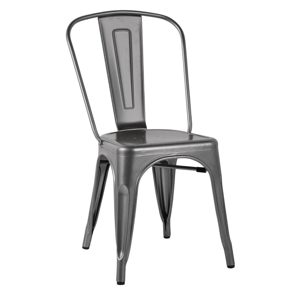 4PCE Bolero Gun Metal Grey Steel Bistro Side Chair - ICE Group HospitalityWarehouse