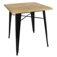 Bolero Black Square Steel Bistro Table with Wooden Top 700mm