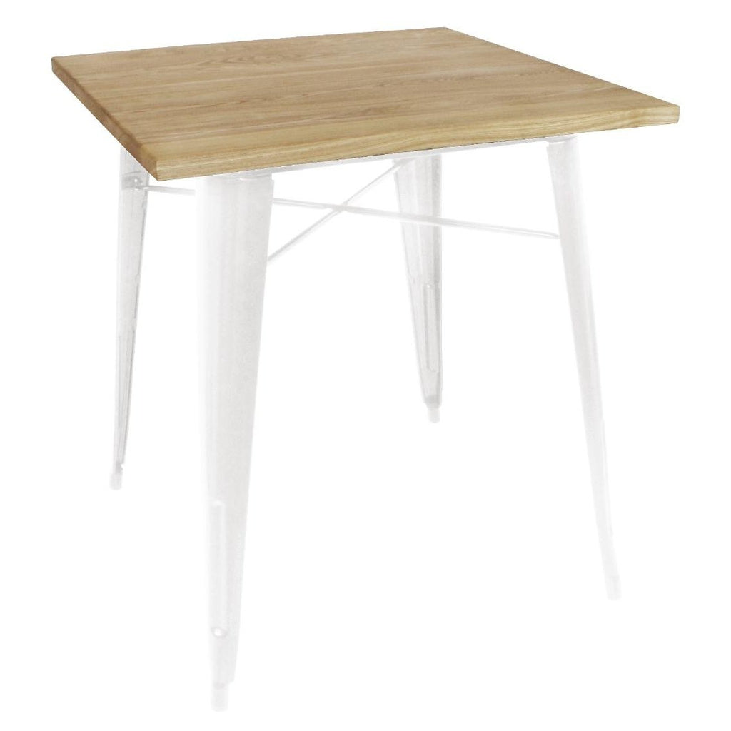 Bolero White Square Steel Bistro Table with Wooden Top 700mm - ICE Group