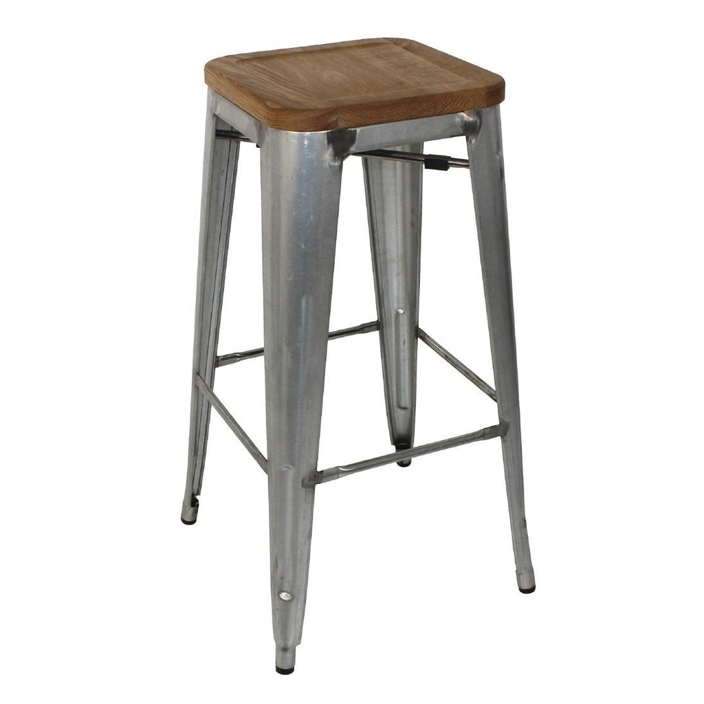4PCE Bolero Galvanised Steel Bistro High Stools with Wooden Seatpad