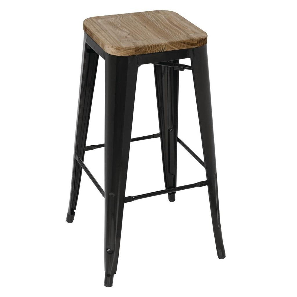 4PCE Bolero Black Steel Bistro High Stools with Wooden Seatpad