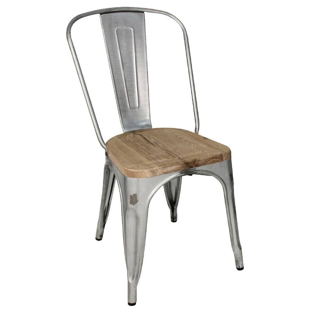 4PCE Bolero Galvanised Steel Dining Sidechairs with Wood Seatpad