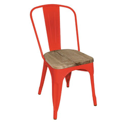 4PCE Bolero Red Steel Dining Sidechairs with Wood Seatpad