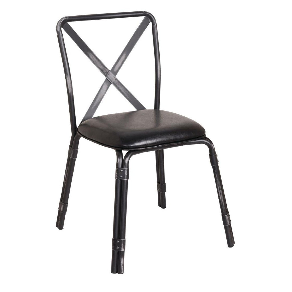 4PCE Bolero Antique Black Steel Chairs with Black PU Seat